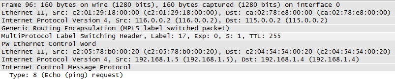 ICMP Echo Request transferred over Layer 2 MPLS Tunnel